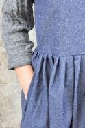 Robe à plis sans manche, jean bleu