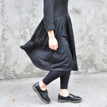 Pleated dress,  long sleeves, dark grey knit