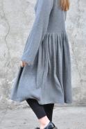 Robe à plis manches longues, maille épaisse grise