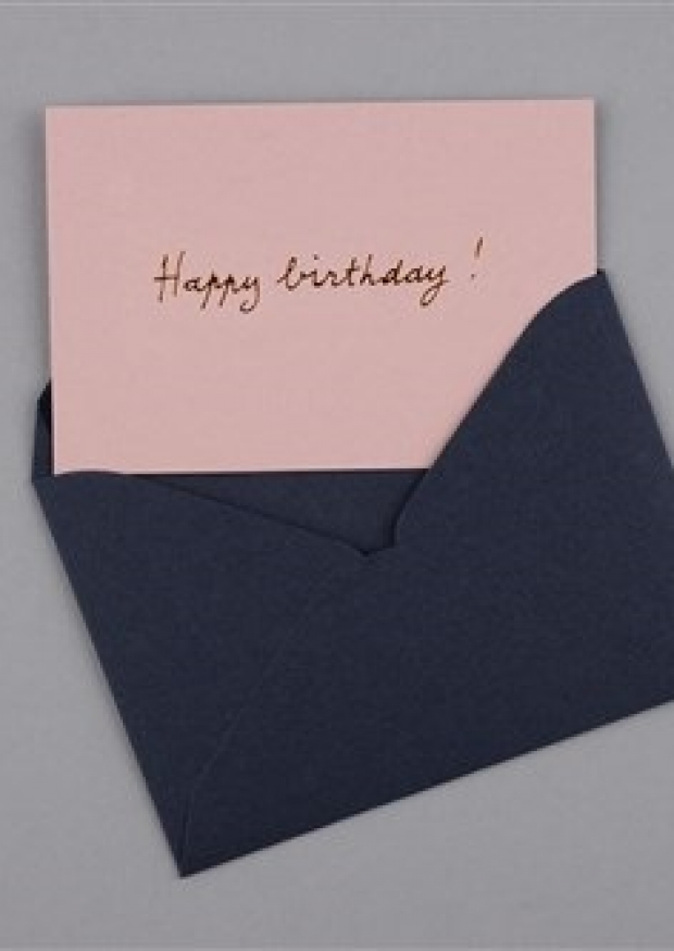 mini postcard Pink Happy birthday