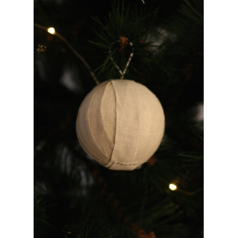 Christmas ball, beige linen