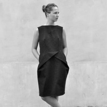 Pencil dress, black denim
