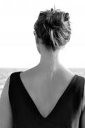 V back dress, black linen