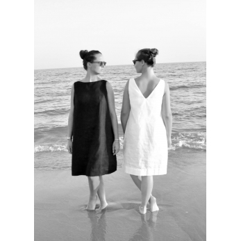 V back dress, white linen