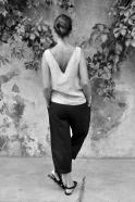 Pantalon taille haute, lin noir
