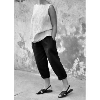 High waist trousers, black linen