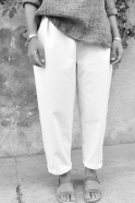 Pantalon taille haute, jean blanc