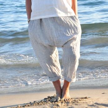 """Pantalon sarouel, lin """"froissé"""""""