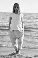Blouse manches courtes Uniforme, lin blanc