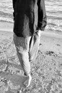 Pantalon sarouel, lin gris