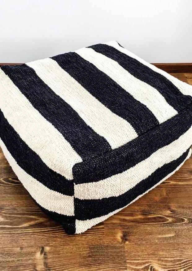 striped ottoman cover
