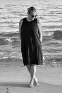 Robe évasée sans manche, lin noir