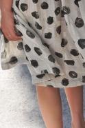 Robe à plis manches longues bicolore, lin noir et pois