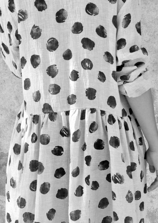 Robe-chemise, lin à pois