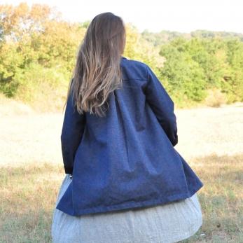 Coat, blue denim