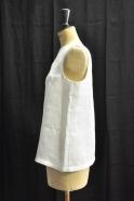 V back blouse, white linen
