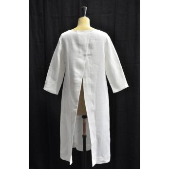 Open dress, white heavy linen