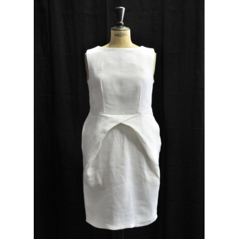 Pencil dress, white heavy linen