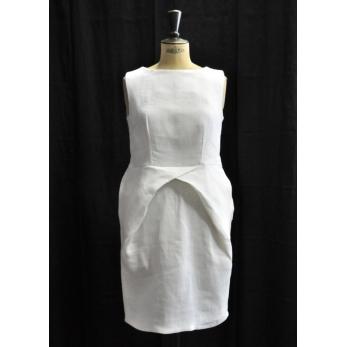 Robe crayon, lin épais blanc