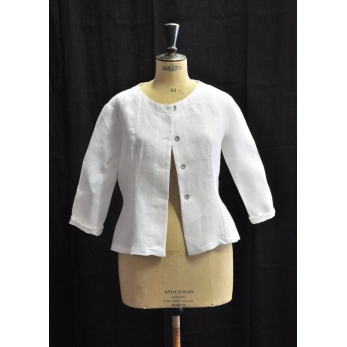 Waisted jacket, white heavy linen