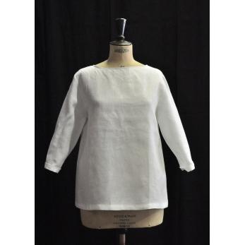 Open blouse, white linen