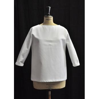 Open blouse, white denim