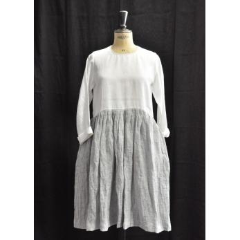 """Robe à plis manches longues bicolore, lin blanc et """"froissé"""""""
