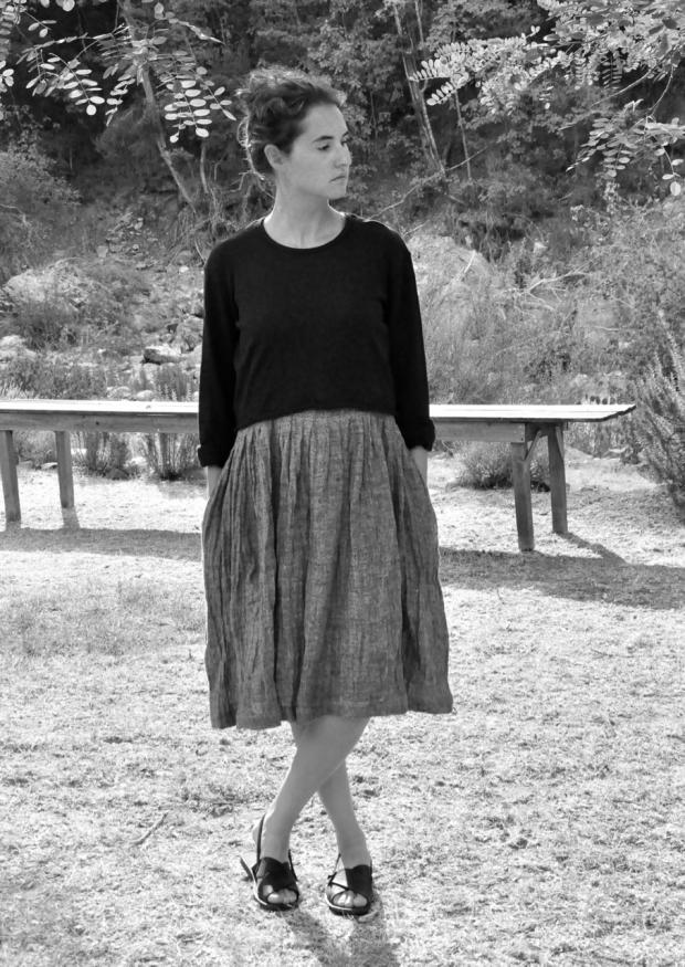 Pleated dress, sleeveless, grey linen