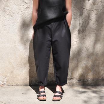 Pantalon taille haute, jean noir