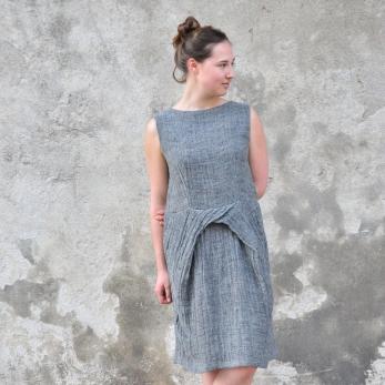 Pencil dress, grey linen
