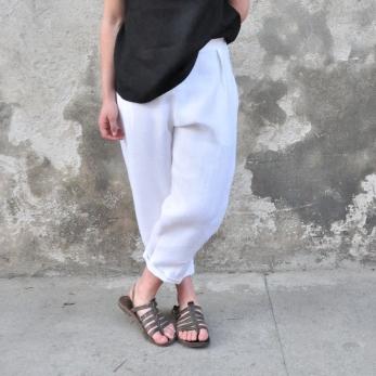 Pantalon taille haute, lin épais blanc