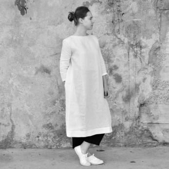Robe ouverte, lin blanc