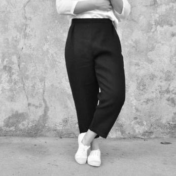 Pantalon taille haute, lin épais noir
