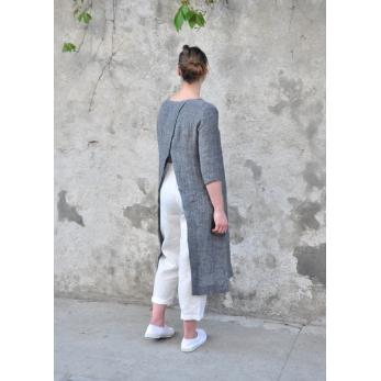 Pantalon taille haute, lin blanc