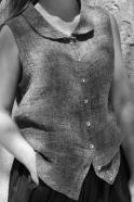 Chemise sans manche, lin gris