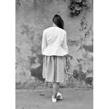 Waisted jacket, white denim