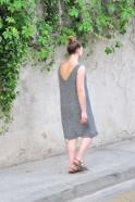 V back dress, grey linen