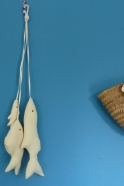 Cluster of 3 fishes to hang, off white cotton