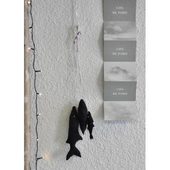 Grappe de 3 poissons à suspendre, coton noir