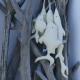 Grappe de 5 poissons à suspendre, coton blanc cassé
