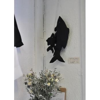 Grappe de 5 poissons à suspendre, coton noir