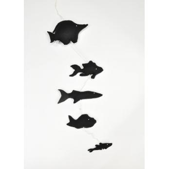 Mobile de 5 poissons à suspendre, coton noir