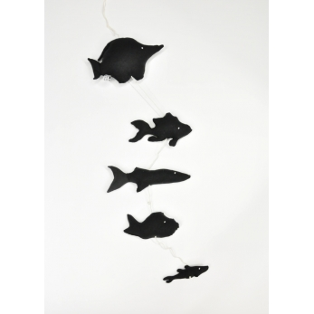 Mobile of 5 fishes to hang, black cotton