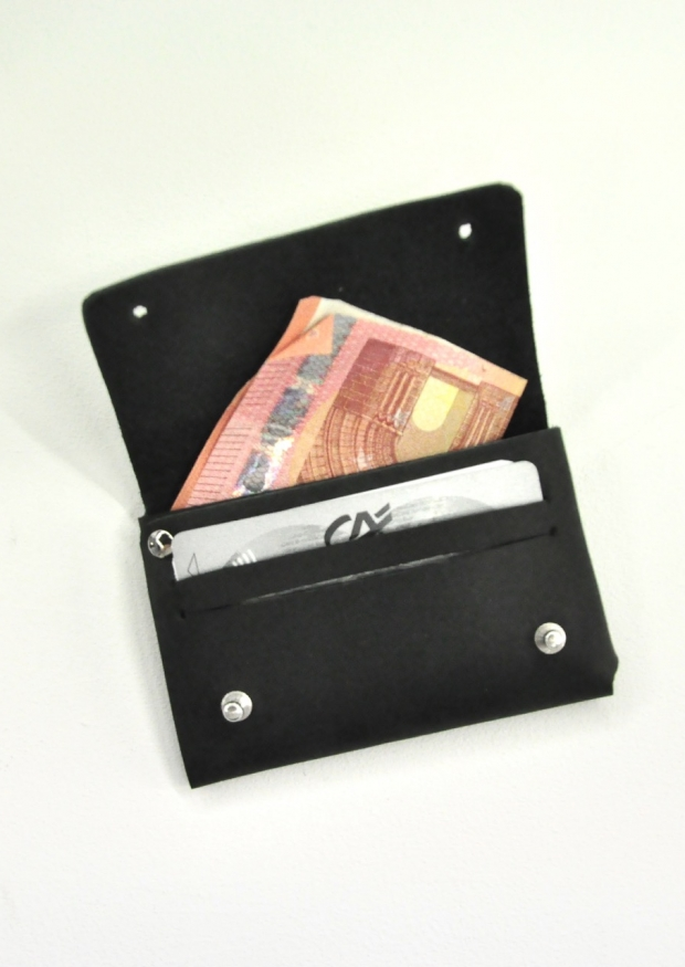Small wallet CLEMENT, black leather