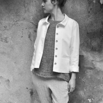 Jacket, white denim