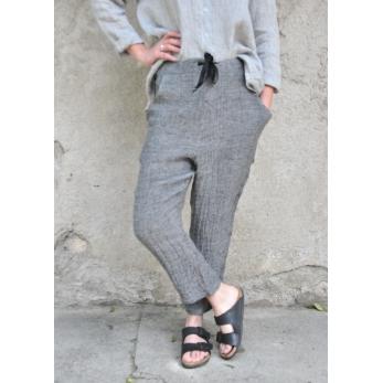 Pantalon à poches, lin gris