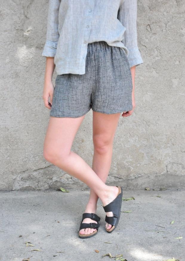 Short, lin gris
