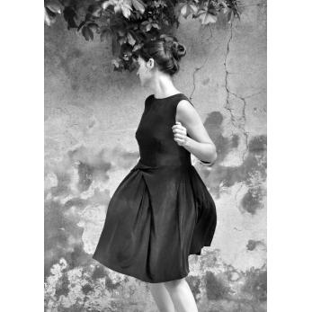 A-line dress, black silk