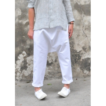 Saroual trousers, white denim