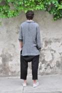 Pantalon sarouel, lin épais noir